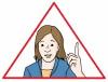 Zeichnung von einem roten Warn-Dreieck mit Frau,  die den Zeigefinger hoch hält