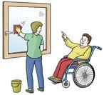 Zeichnung von einer Rollstuhlfahrerin. Sie sagt ihrer Assistenz wie sie das Fenster putzen soll.