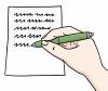 Zeichnung von einem Blatt Papier. Jemand schreibt etwas auf das Papier.
