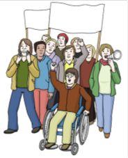 Zeichnung von Menschen, die demonstrieren