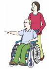 Zeichnung von einem Rollstuhlfahrer. Er zeigt seiner Assistenz wo er hin will.