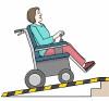 Zeichnung von einer Rollstuhl-Fahrerin auf einer Rampe.
