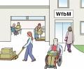 Zeichnung von einer Werkstatt für behinderte Menschen von außen